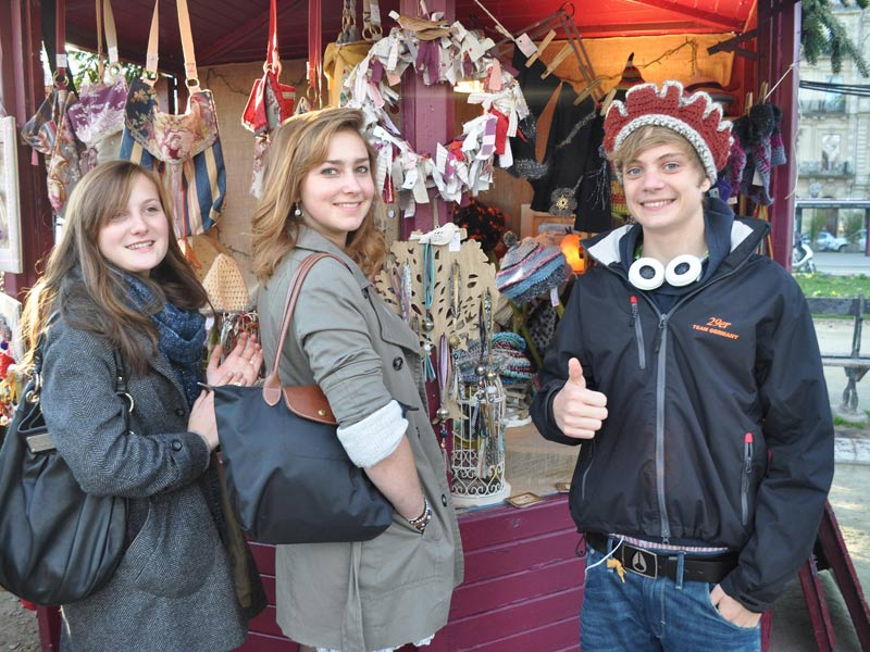 christmas market and students