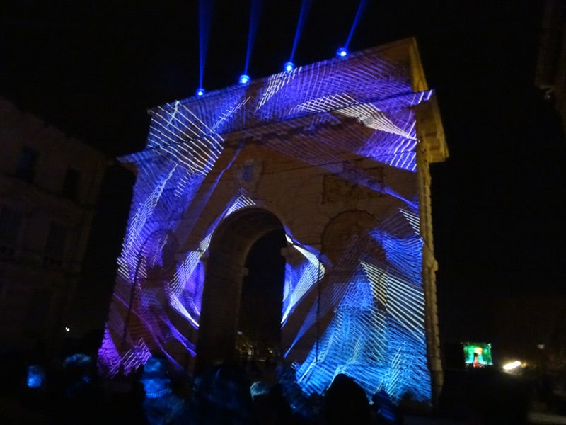 arc de triomph illiminated in Montpellier
